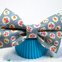 Floral Hair Bow, Hair Bows for Women, Floral Bow for Women, Floral Bow for Girls, Floral Stripes Bow, Blue and Red Bow, Large Hairbow