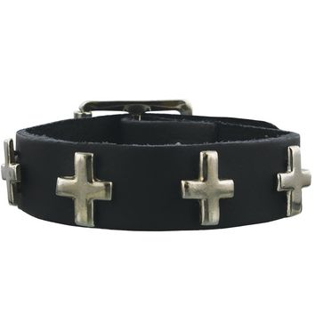 1 Row Silver Cross Wristband