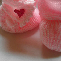 Pink Ugg style booties with picot edging - age 3-6 months - Christmas/baby gift/stocking stuffer