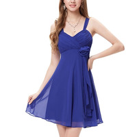 Royal Blue Braces Floral Homecoming Dress