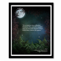 A Midsummer Night's Dream, Shakespeare Poster, Quote Poster, Literary Print, Shakespeare Quote, Graduation Gift, Gift for Drama Student