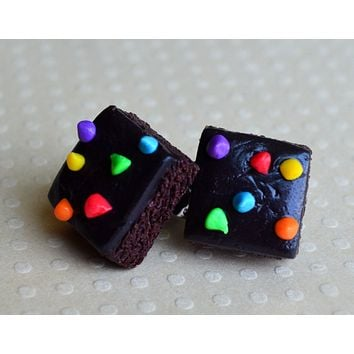 Rainbow Chip Brownie Post Earrings