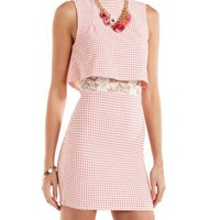 Coral Lace-Lined Layered Gingham-Checked Dress by Charlotte Russe