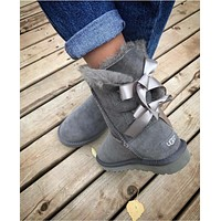 Ugg Fashion Winter Women Man Cute Bowknot Flat Warm Snow Ankle Boots-5