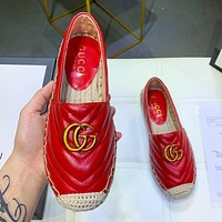 GUCCI New fashion women leather weave shoes Red