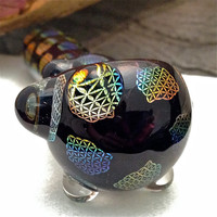 Sacred Geometry Rainbow Sparkle Spoon Pipe