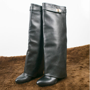 Choudory Kim Kardashion Knee High Ladies Motorcycle Boots Celebrity Winter Leather SharkLock Fold Over Wedge Boots For Women