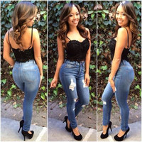 Women's slim high waisted ripped Jeans a13543