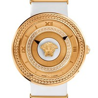 Women's Versace 'V-Metal Icon' Leather Strap Watch, 40mm - White