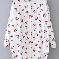 White Lapel Cherry Print Dip Hem Loose Blouse -SheIn(Sheinside)