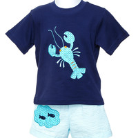 Mulberry St. Navy T-shirt with Appliqued Aqua Lobster & Swim Trunk