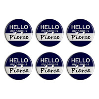 Pierce Hello My Name Is Plastic Resin Button Set of 6