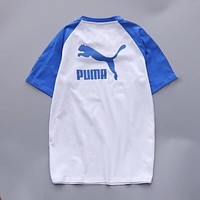 PUMA Women Men Sleeve Print Letters Contrast Tee Shirt top B-YF-MLBKS Blue
