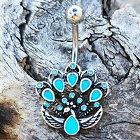 316L Stainless Steel Jeweled Peacock Navel Ring
