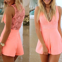 SIMPLE - Woman Fashionable Laced Pink Romper a10623