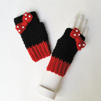Minnie Mouse Wristwarmers, Fingerless Gloves, Texting Mitts, Cute Accessory, Great for Halloween Costumes, Ready to Ship