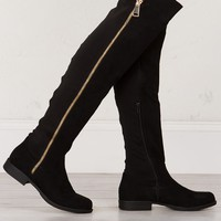 Flat Knee High Boots in Black
