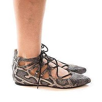 Pippa123 By Wild Diva, Pointy Toe Caged Lace Up Ankle Ballet Trendy Flat