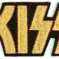 Kiss Iron-On Patch Gold Letters Logo