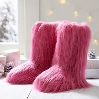 Fur-Riffic Faux Fur Booties, Pink