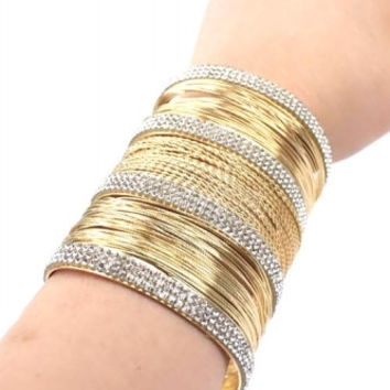 """3"""" wide gold crystal pave bracelet bangle cuff wire"""