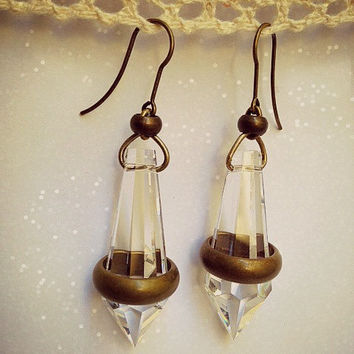 Dangle earrings. Clear crystal prism earrings with an antique brass ring. Chandelier charm pendant earrings. Handmade romantic boho jewelry.