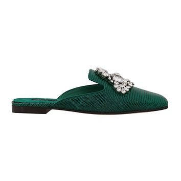 Dolce & Gabbana Green Leather Iguana Crystal Mules
