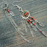coral and turquoise dreamcatcher chained ear cuff  RED beads cross cuff in boho gypsy hippie hipster native american and tribal style