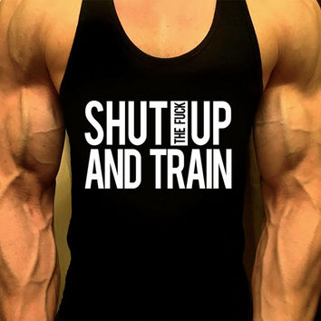 SHUT UP and TRAIN,Workout Clothes,Gym Clothes,Fitness Clothes,Muscle,Mens Gym Tee,Mens Fitness Tee,Mens Workout Tee,Mens Exercise Tee