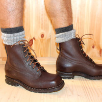 Genuine Leather WW2 Mens Boots Swedish Army Military Steampunk Robust Heavy Duty Cool Strong Durable Work Hiking Outdoor