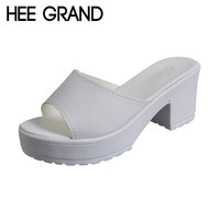 HEE GRAND Brand Peep-toe Simple Women Slides,Platform Thick Heel Shoes Woman Casual Slides Fashion Summer Slippers XWZ2899