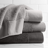 Linen-Bordered 650 Gram Turkish Cotton Towels Cool Grey Collection