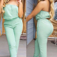 Strapless Sleeveless Pure Color Jumpsuit