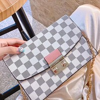 LV classic checkerboard white women's chain bag shoulder messenger bag