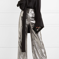 Wanda Nylon - Silk-blend lamé wide-leg pants