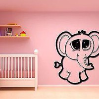 Wall Stickers Vinyl Decal Baby Elephant Cute Decor For Kids Children Unique Gift (z1768)