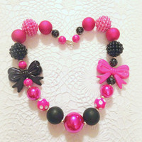 Chunky beaded necklace, bubblegum beaded necklace, newborn necklace, photo prop necklace, rave jewelry, goth necklace