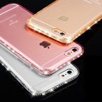 for iphone 5s Case Clear Transparent Luxury Rhinestone Case for iphone 7 6 6s Plus 5 SE Thin Back Crystal Diamond Soft TPU Cover