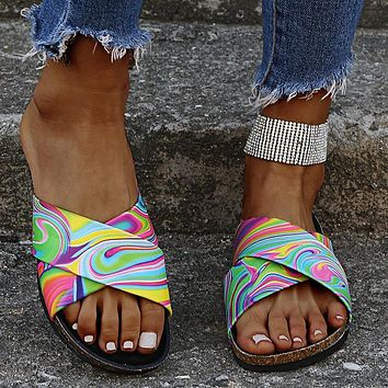 Fashion slippers, large size, flat-bottomed women's sandals and slippers