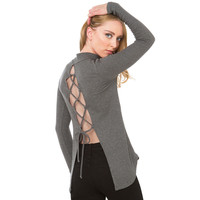 Grey Lace Cut-out Back Long Sleeves Knit T-Shirt