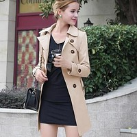 Fashion women's belt trench coat pocket lapel double-breasted slim large size trench coat