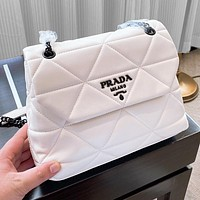 PRADA Mario Prada Miuccia Prada Hardware Plaid Bag Clamshell bag