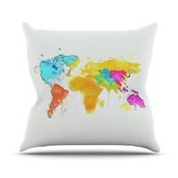 "Oriana Cordero ""World Map"" Rainbow White Throw Pillow"