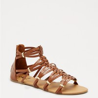 Cognac Gold Accent Gladiator Sandals