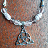 Celtic knot stainless steel beaded necklace