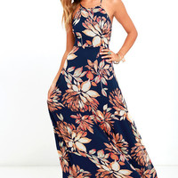 Adventure Seeker Navy Blue Floral Print Maxi Dress