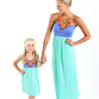 Lilac and Mint Maxi Tube Dress with Cinched Bust with Two Side Pockets