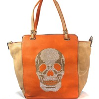 Two Toned Orange and Beige Leather Tote Bag with Skull Sequins