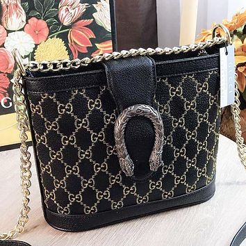 GUCCI New fashion embroidery letter leather shoulder bag crossbody bag bucket bag Black