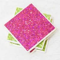 Pink and Green No Shed Thick Chunky Glitter Tile Coaster Set (4) With Foam Padding